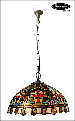 Huge Size Baroque  Style Stained Glass Tiffany Pendant Lamp
