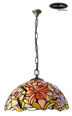 "Larg 16"" Oriental Lily Style Stained Glass Tiffany Pendant Lamp"