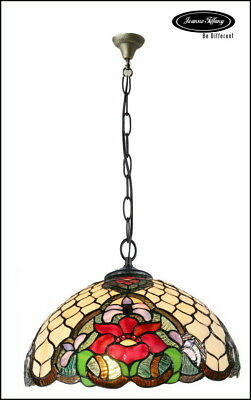 """Larg 16"""" Red Camillia Style Stained Glass Tiffany Pendant Lamp"""