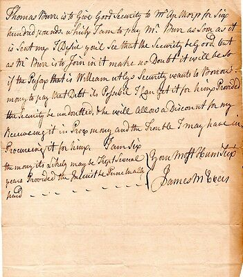 New York, James McEvers, Stamp Act agent, signed letter, re: good securities