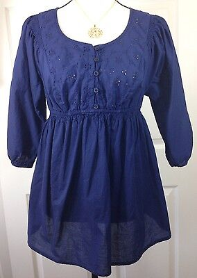 Liz Lange Maternity Top Navy Blue Women's Eyelet Embroidered 3/4 Sleeve Small