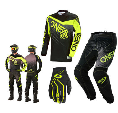 Oneal Element Combo S18 schwarz neon gelb Race Enduro MX Crosshose Shirt Glove