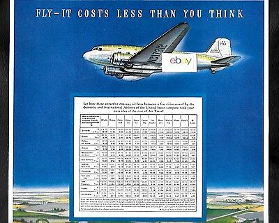 Douglas Dc-3 1941 It Costs Less Than You Think To Fly Air Transport Fares Ad