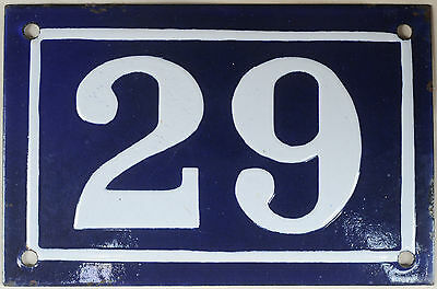 Old blue French house number 29 door gate plate plaque enamel steel sign c1950