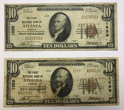 Lot Of 2 $10 Small Size 1929 National Bank Notes Atlanta Georgia