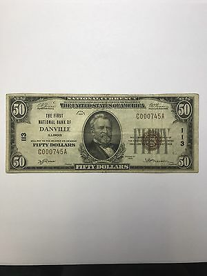 1929 $50 Type 1 First National Bank Of Danville Illinois CH#113