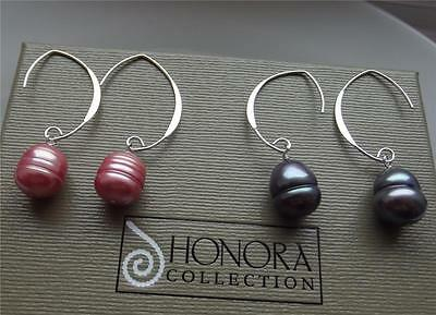 Honora 2 Black & Ruby Pearl Sterling Silver Wire Shepherds Hook Earrings New Qvc