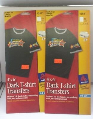2 Pack Avery 4385  Dark T Shirt Transfers Iron On Transfers 4 x 6 size 20 SHEETS