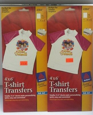 2 Pack Avery 4384 T Shirt Transfers Iron On Transfers 4 x 6 size 30 SHEETS