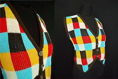 Colorful NERDY Checkered Vintage 1950's 1960's NOS Women's Sweater Vest M L