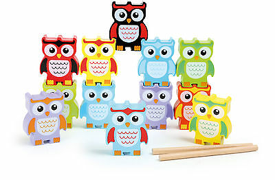 Stack owls of wood Stacking game Forest animals Owl Motor skill Creativity