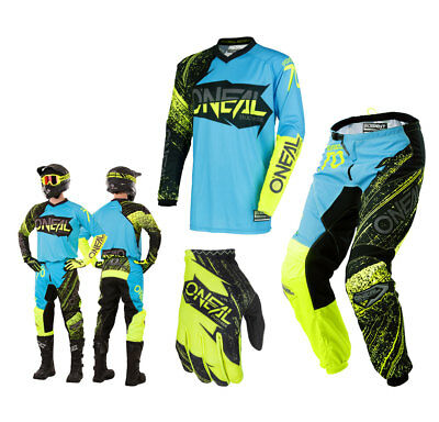 Oneal Element Combo Burnout blau gelb Enduro Motocross Crosshose Shirt Glove