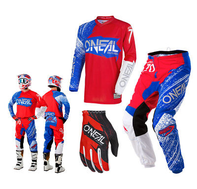 Oneal Element Combo Burnout rot blau Enduro Motocross Crosshose Shirt Glove