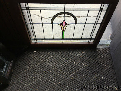 Antique 1920s Chicago Bungalow Style Stained Leaded Glass Transom Window 34 x 25