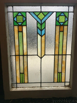 """1 of 2 Antique Art Deco Stained Leaded Glass Window 31"""" by 24"""" Circa 1925"""