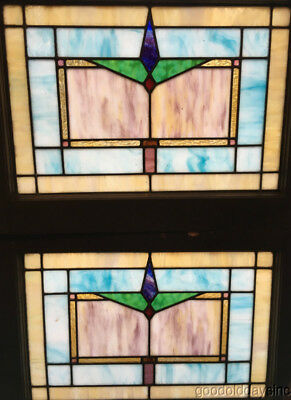 "Beautiful Pair of 1920's Stained Leaded Glass Windows 28"" by 21"""