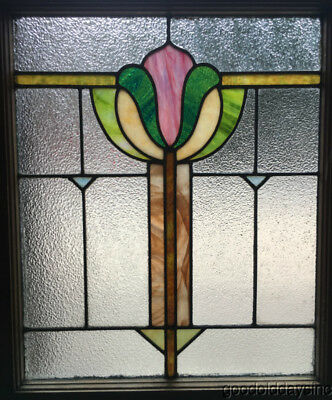 "Antique 1920's Stained Leaded Glass Window from Chicago 29"" by 24"""