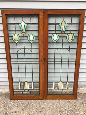 "2 Antique Oak Wood Stained Leaded Glass Bookcase Cabinet Doors / Windows 45"" 18"""