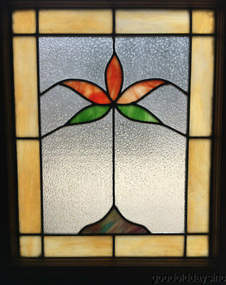 "1 of 2 Antique 1920's Chicago Bungalow Stained Leaded Glass Window 25"" by 20"""