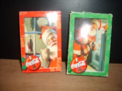 Set of two DECKS  Bicycle Playing Cards COCA COLA SANTA mid 1990's FINAL LISTING
