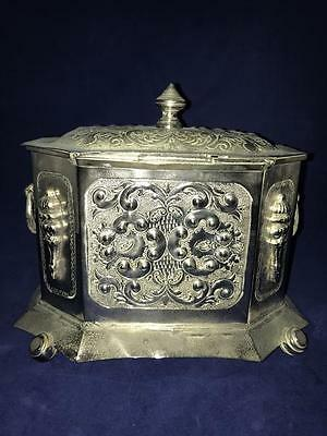 Antique Handmade Etched Moroccan SILVER SUGAR BOWL Tribal Tuareg Berber
