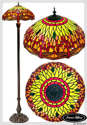 "Large 18"" Dragonfly  Style Stained Glass Tiffany Floor Lamp"