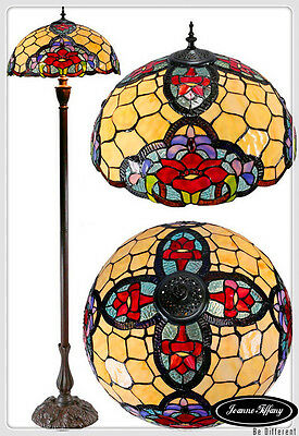 "Large 18"" Red Camillia Style Stained Glass Tiffany Floor Lamp"