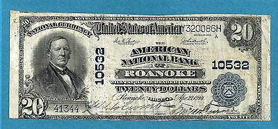 1902 $ 20 American National Bank of Roanoke Virginia # 10523 11 Known Rare !