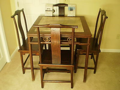 ANTIQUE EARLY QING DYNASTY WOOD & MARBLE TABLE w/ QING ELM CHAIRS - CHINESE COA