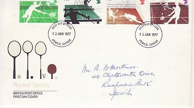GB Stamps First Day Cover Racket Sports, tennis, badminton etc CDS Ipswich 1977