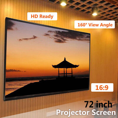 White Projector Screen 72'' 16:9 Home Movie Portable Projection Screen Outdoor