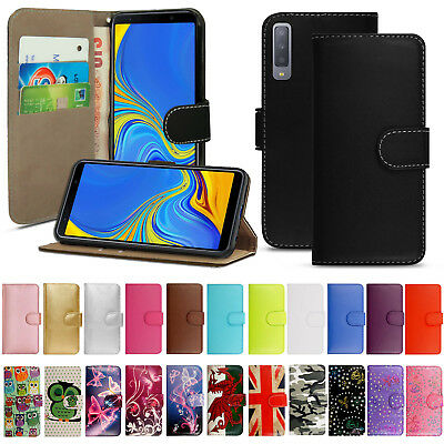 Samsung Galaxy A6 A8 A70 A40 A50 Genuine Black Leather Wallet Phone Cover Case