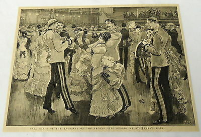 1884 magazine engraving & article ~ LIFE GUARDS BALL at St. JAMES'S HALL ~ UK