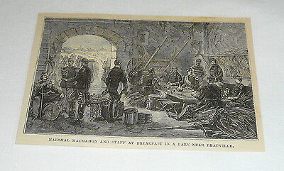 1879 magazine engraving ~ MARSHAL MACMAHON AT BREAKFAST  WITH STAFF