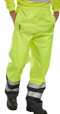 BSeen High Visibility Yellow Navy Waterproof Breathable Over Trousers Work Pants