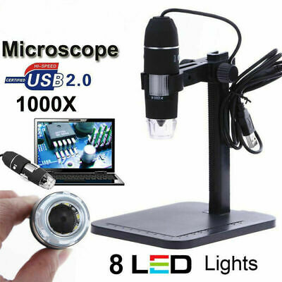 1000x2MP USB Digital 8 LED Microscope Endoscope Magnifier Video Camera w/ Stand