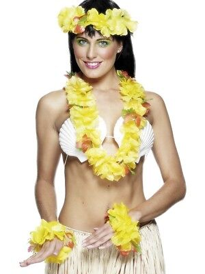 Hawaiian Luau Deluxe 4 Pce Yellow Lei Garland Set Fancy Dress Hawaiin by Smiffys