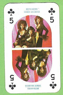 1970s Monty Gum Hitmakers Pop Stars  type card 5 of clubs soul group 3 degrees