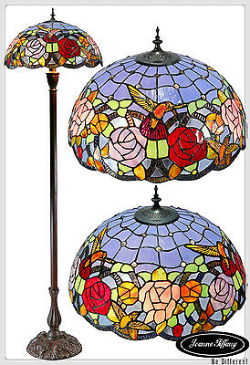 "18"" Hummingbird Flower Stained Glass Tiffany Floor Lamp"