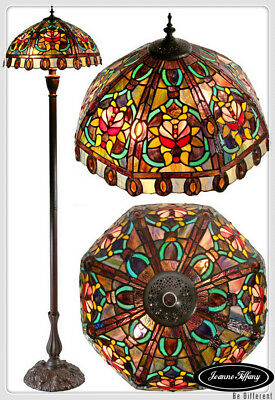 Large Victorian Style Flower Pattern  Tiffany Floor Lamp