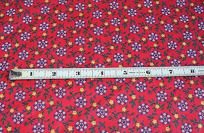 """Vintage Red & Blue Floral Print Cotton Fabric Quilting Doll Clothes 4 yds x 35"""""""