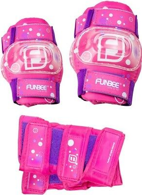 Funbee Kids Activities Wrist Guards Elbow Knee Pads Protection Set | Pink/Purple
