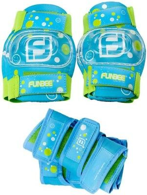 Funbee Kid's Activities Wrist Guards Elbow Knee Pads Protection Set | Blue/Green