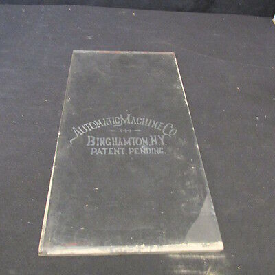1895 AUTOMATIC SLOT MACHINE CO  Original Etched Glass Front Door Window PAYS 3-1