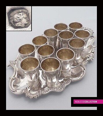 ANTIQUE 1900s FRENCH FULL STERLING SILVER CUPS & TRAY LIQUOR SET 13 pc Rococo st