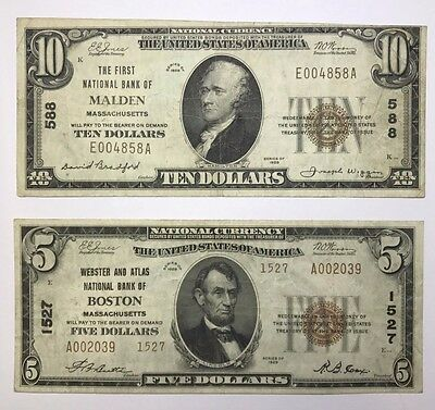 Lot Of 2 Small Size 1929 National Bank Notes Massachusetts, Boston & Malden