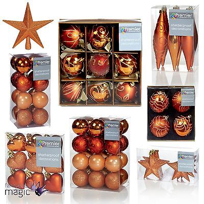 Christmas Xmas Copper Rose Gold Baubles Hearts Shatterproof Tree Decorations Set