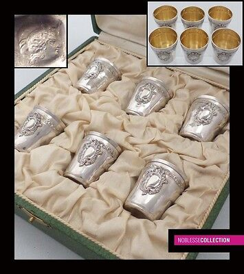ANTIQUE 1900s FRENCH STERLING SILVER &18k GOLD LIQUOR CUPS SET 6 pc Rococo style