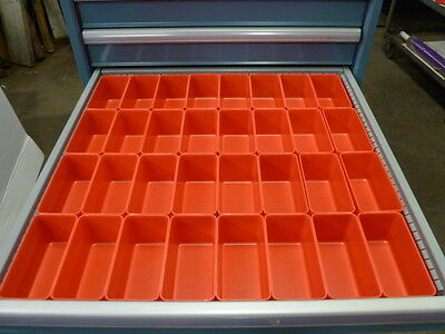 "32- 3""x6""x3"" Red Plastic Boxes for Vertical Lift Storage System Bins Dividers"