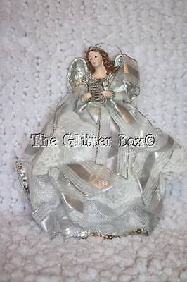 Christmas Ornaments Kurt Adler White Silver Lace Angel Playing Harp Cottage